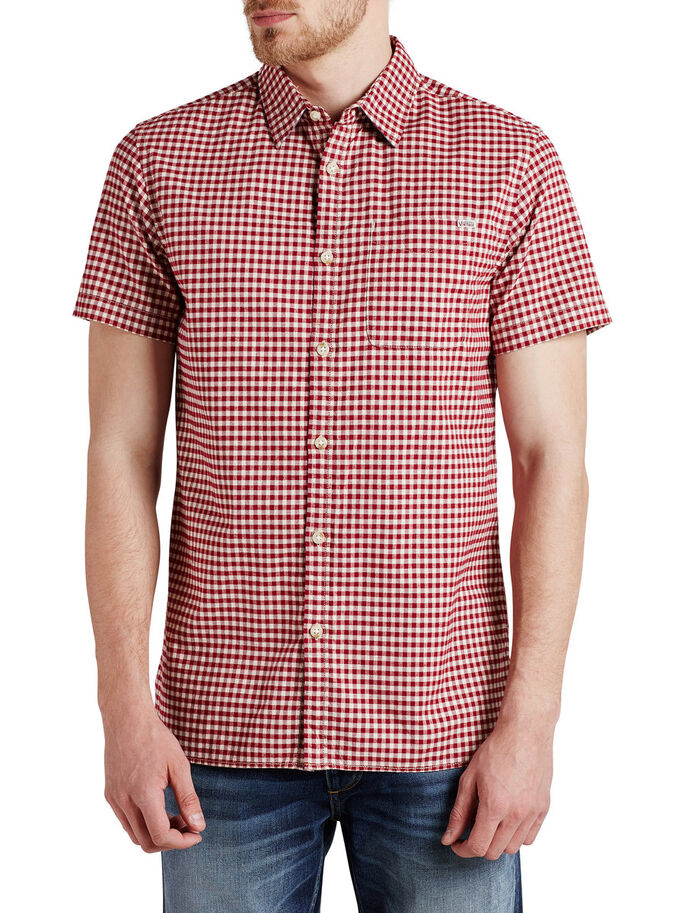 GINGHAM CHECK LONG SLEEVED SHIRT, Fired Brick, large