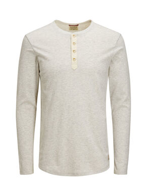 MELANGE GRANDAD LONG-SLEEVED T-SHIRT
