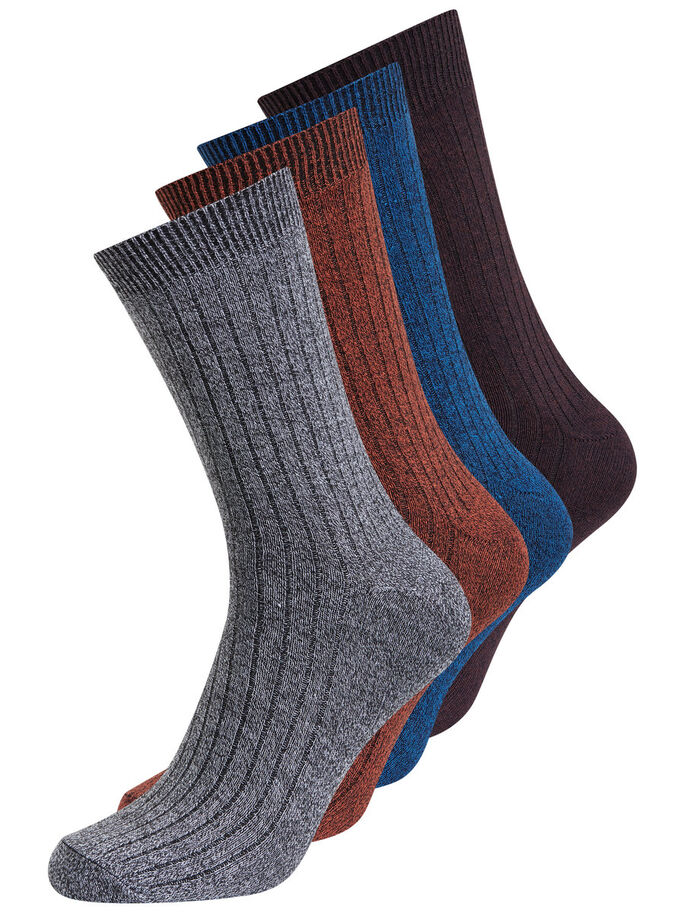 MELANGE 4 PACK SOCKS, Dark Grey Melange, large