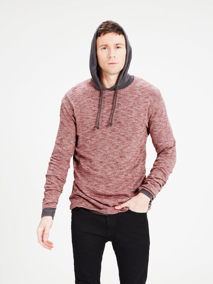 BASIC KNITTED PULLOVER, Rosewood, large