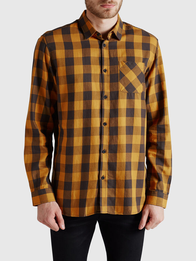 CHECK SHIRT, Inca Gold, large