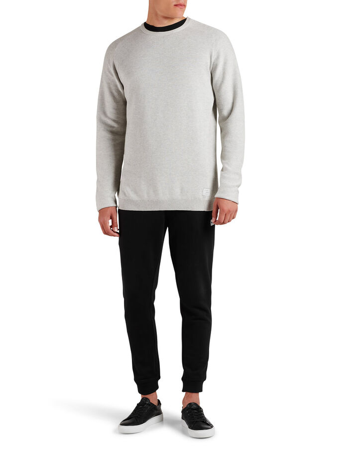 MINIMAL STRUKTURERT STRIKKET PULLOVER, Treated White, large