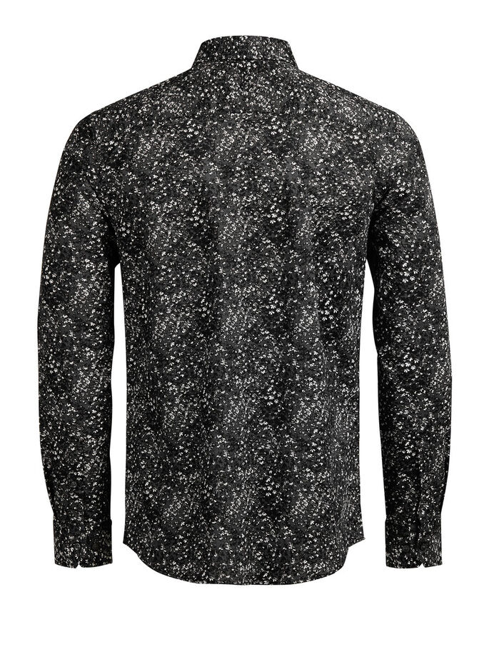 FLORAL PRINT CASUAL SHIRT, Black, large