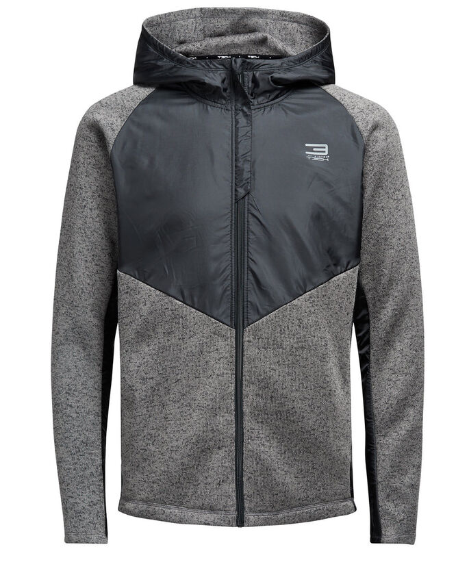 HETTE FLEECEJAKKE, Grey Melange, large