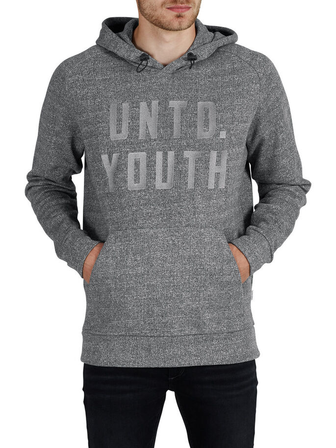 TONE-IN-TONE HOODIE, Light Grey Melange, large