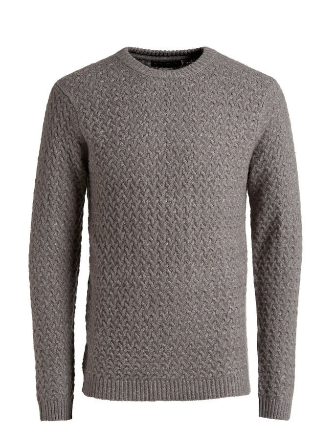 WOOL-BLEND CABLE KNIT KNITTED PULLOVER, Grey Melange, large