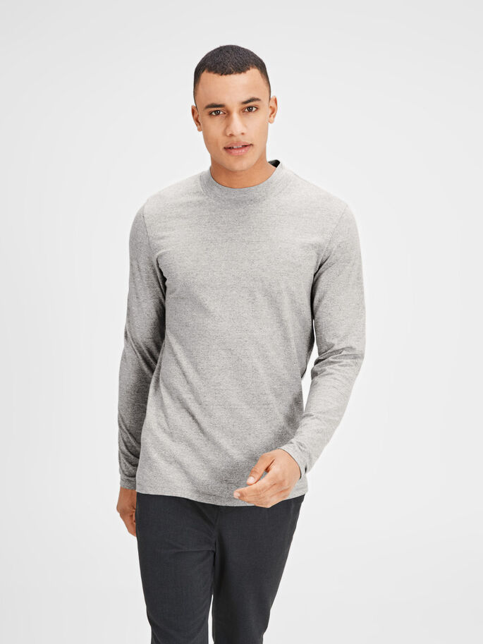 HIGH NECK LONG-SLEEVED T-SHIRT, Light Grey Melange, large
