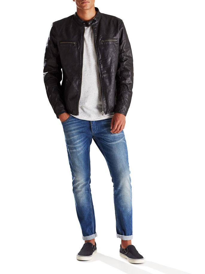 REGULAR FIT BIKER LEREN JAS, Black, large