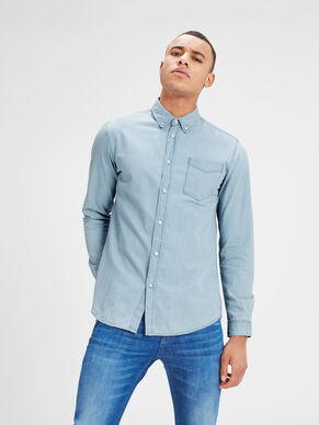 CASUAL DENIM SLIM FIT LONG SLEEVED SHIRT