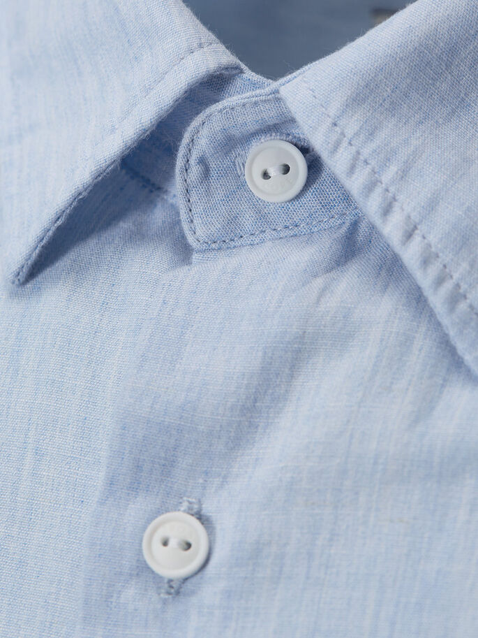 DENIM SHORT SLEEVED SHIRT, Light Blue Denim, large