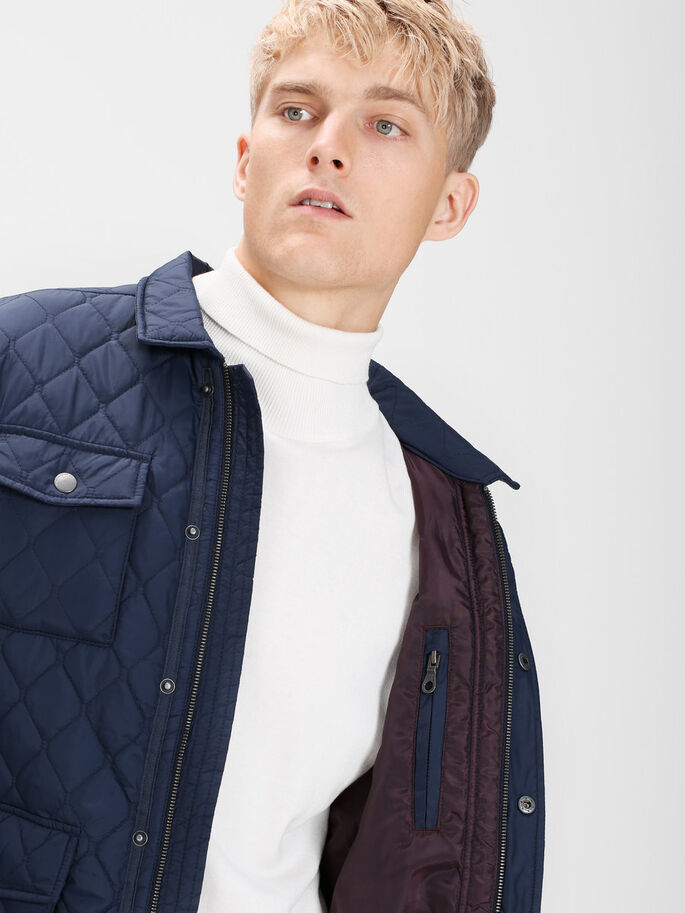 QUILTED JACKET, Navy Blazer, large