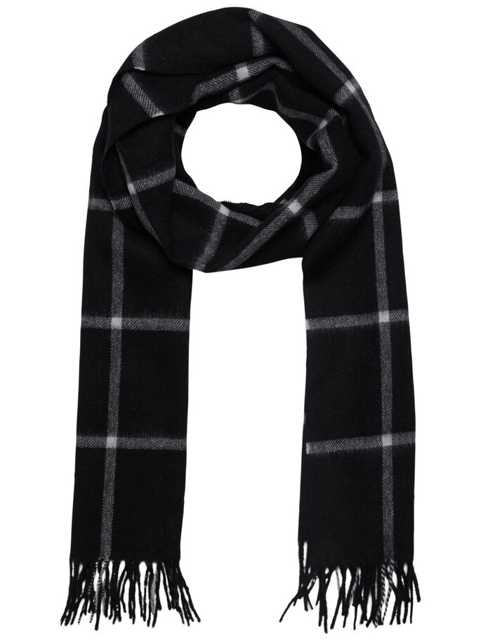 CHECKED SCARF, Black, large
