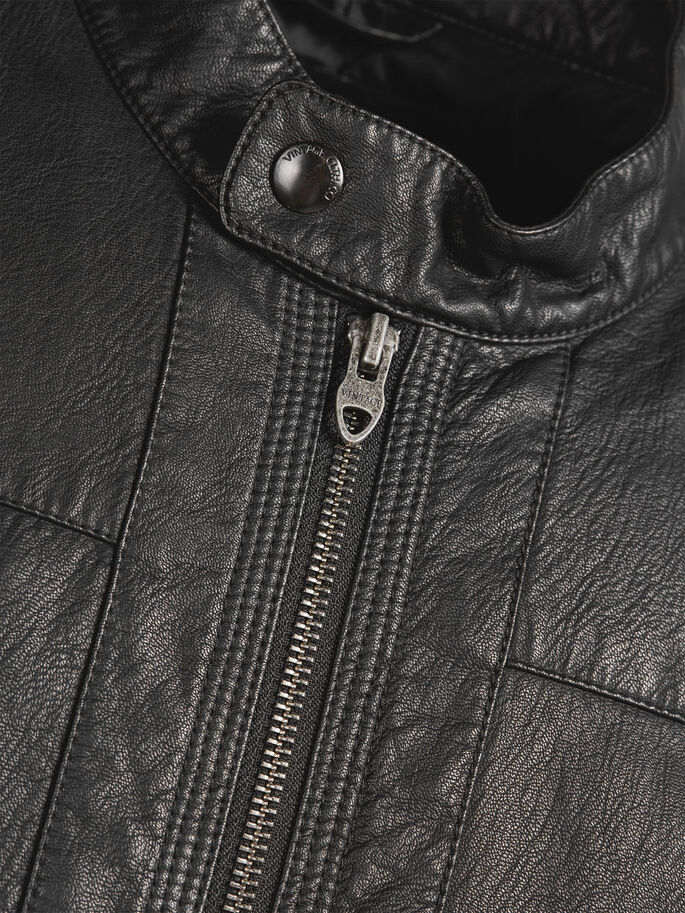 FAUX LEATHER JACKET, Black, large