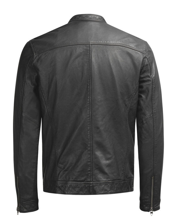 LEATHER LEREN JAS, Black, large