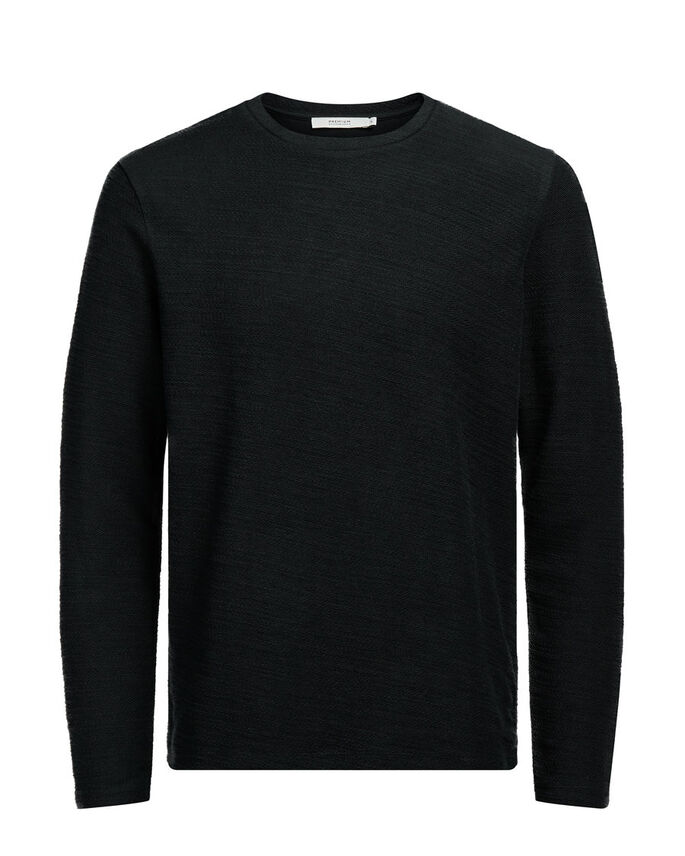 REVERSE-LOOPBACK SWEATSHIRT, Black, large
