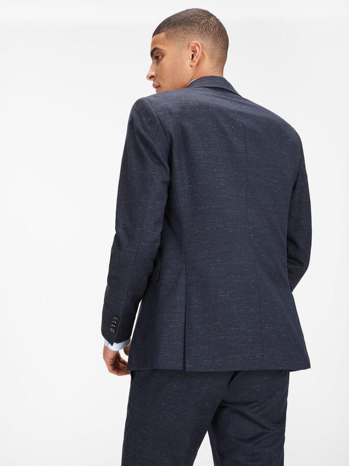 GEVLEKTE BLAZER, Dark Navy, large