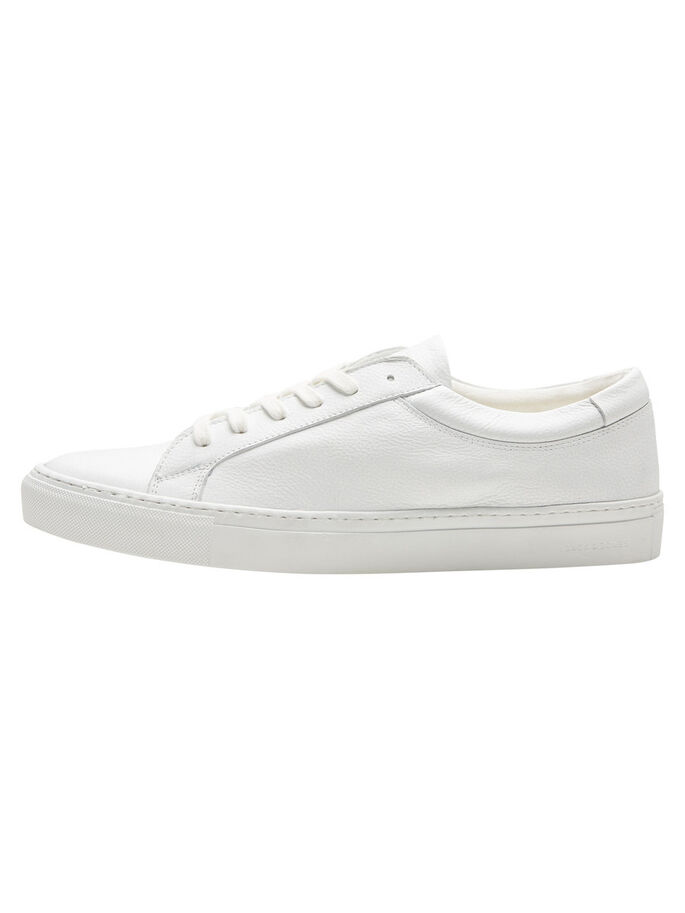 CASUAL LEATHER TRAINERS, Bright White, large