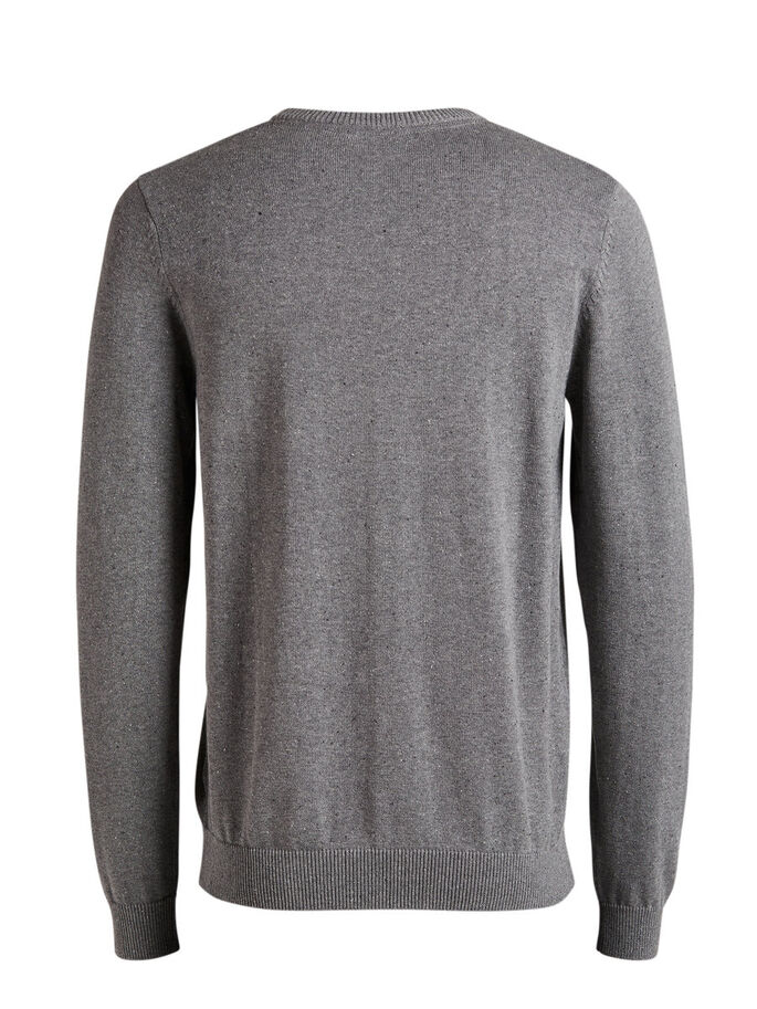 FLECKED KNITTED PULLOVER, Grey Melange, large