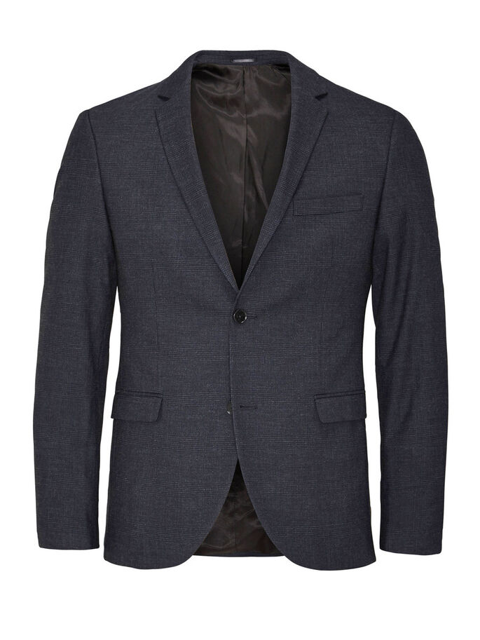 KARIERTER SLIM FIT- BLAZER, Dark Navy, large