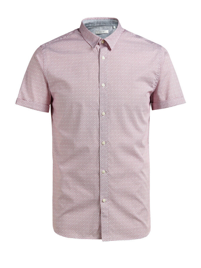 MICRO PRINT SHORT SLEEVED SHIRT, Rosewood, large