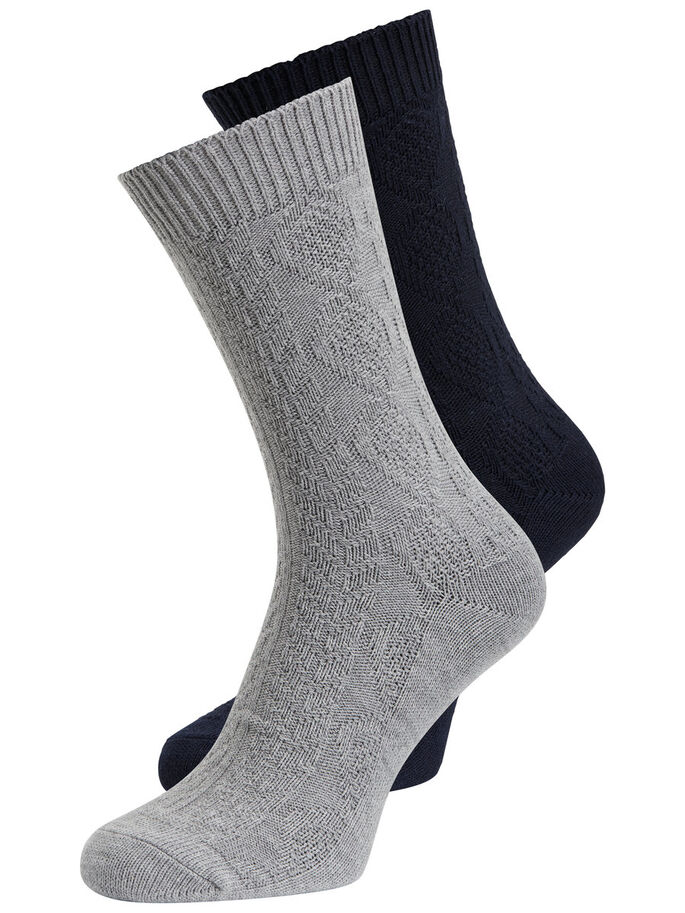 KNITTED SOCKS, Grey Melange, large