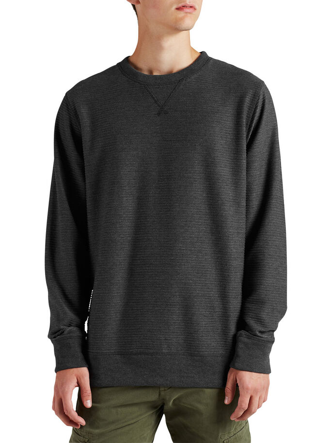GERIPPTES SWEATSHIRT, Dark Grey Melange, large