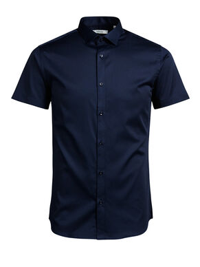 SPREAD COLLAR SHORT SLEEVED SHIRT