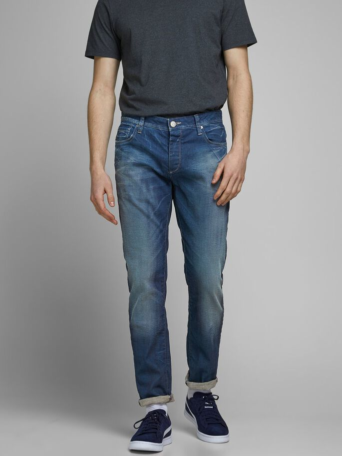 TIM ORIGINAL JOS 919 SLIM FIT JEANS, Medium Blue Denim, large