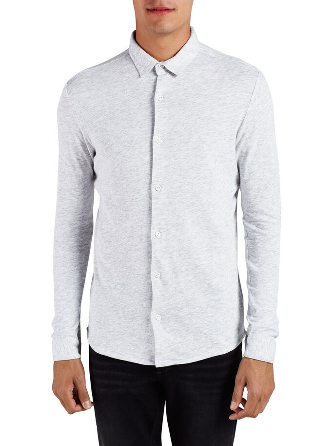 JERSEY LANGÆRMET SKJORTE, Light Grey Melange, large