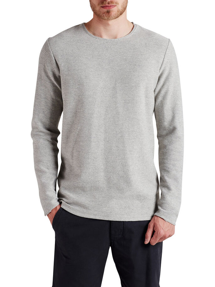 ROUGH LONG-SLEEVED T-SHIRT, Light Grey Melange, large