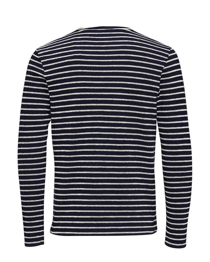 STRIPED COTTON PIQUE SWEATSHIRT, Navy Blazer, large