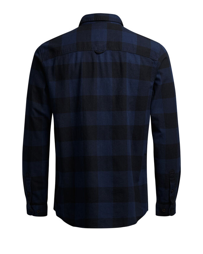 CHECKED LONG SLEEVED SHIRT, Black, large