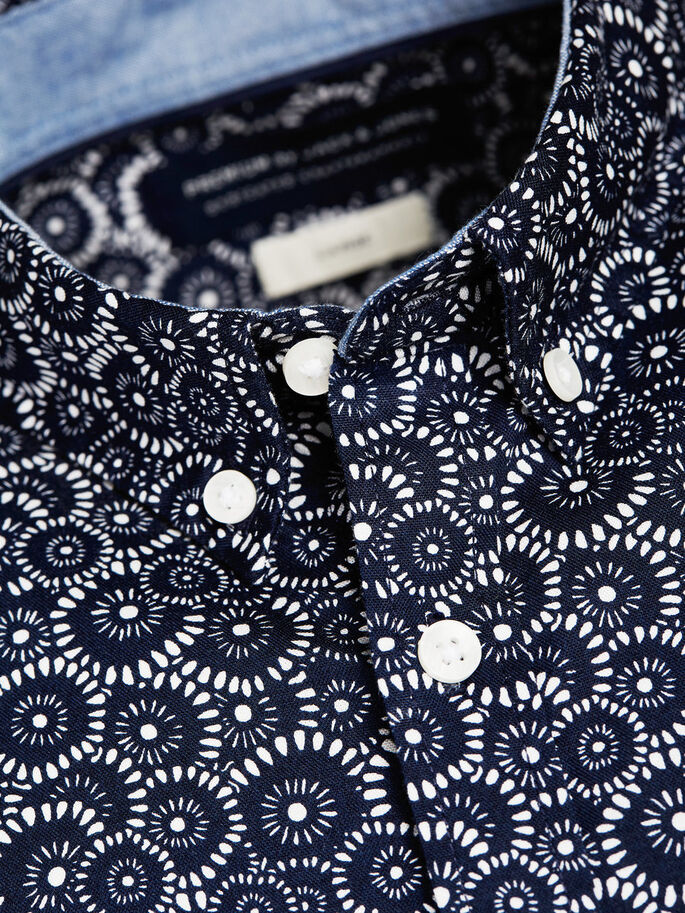 PRINTED SHORT SLEEVED SHIRT, Navy Blazer, large