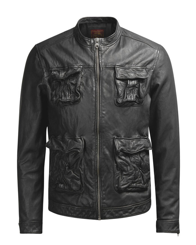 LEATHER LEATHER JACKET, Black, large