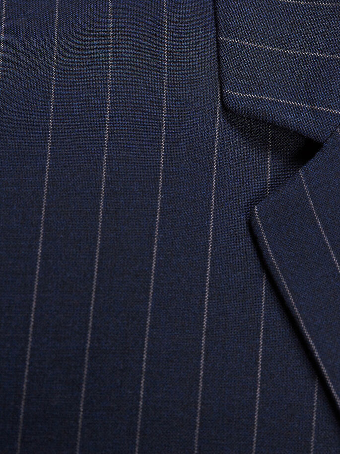 PIN STRIPED SLIM FIT BLAZER, Dark Navy, large