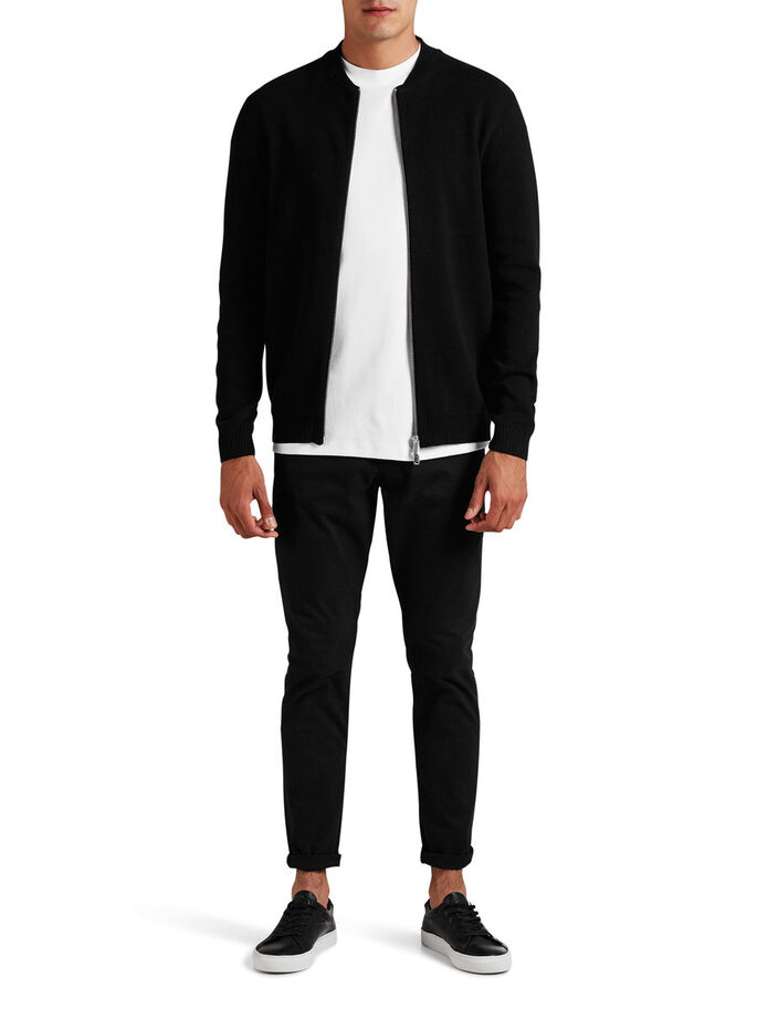 BOMBER KNIT CARDIGAN, Black, large