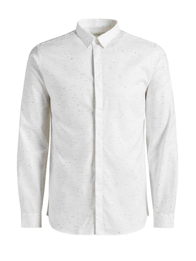 GESPIKKELDE BUTTON-UNDER OVERHEMD MET LANGE MOUWEN, White, large