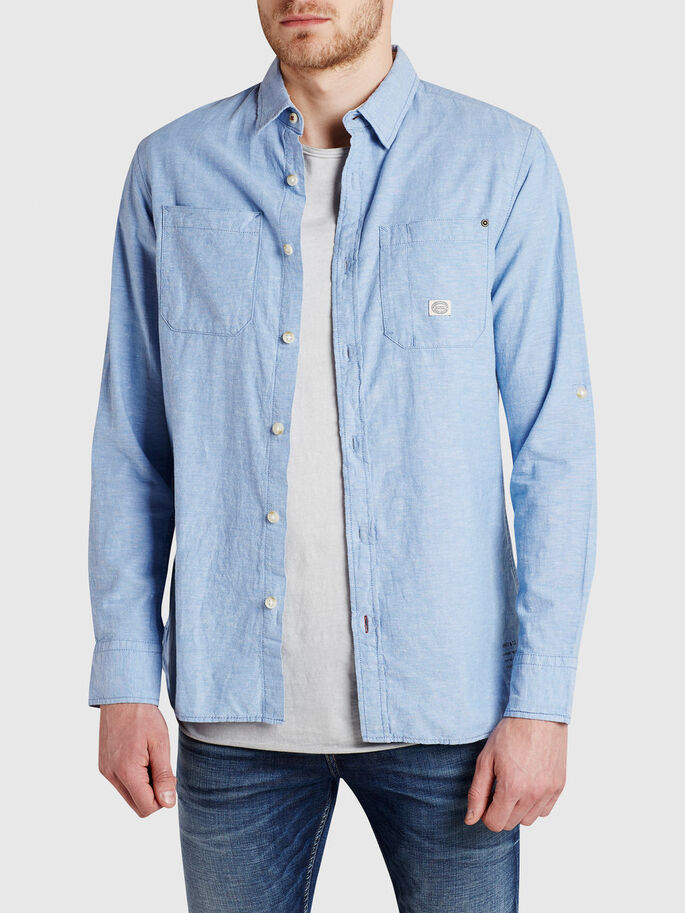 CHAMBRAY HVERDAGSSKJORTE, Light Blue Denim, large