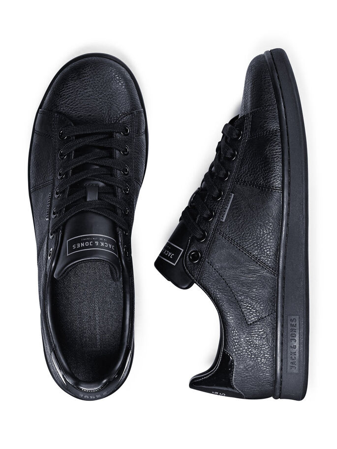 LEATHER LOOK TRAINERS, Anthracite, large