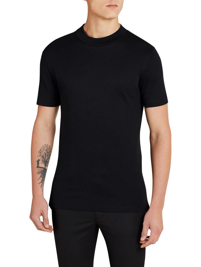 COL MONTANT T-SHIRT, Black, large