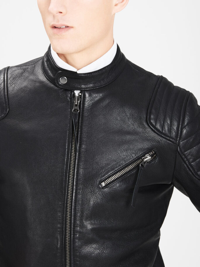 RIDER LEATHER JACKET, Black, large