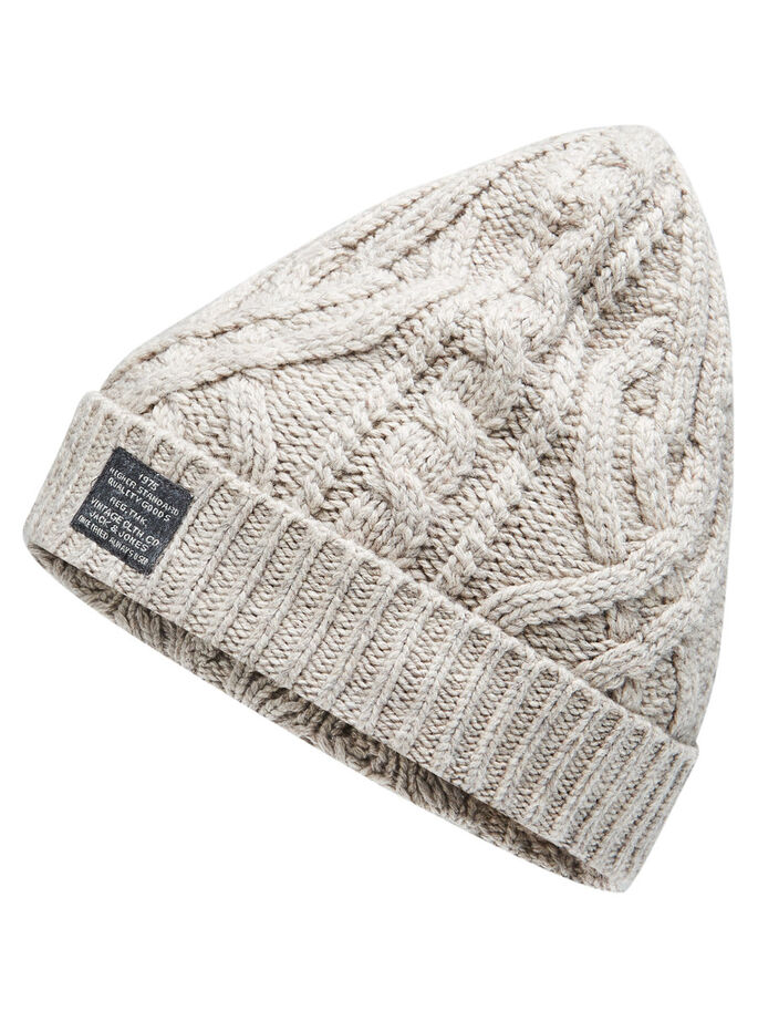 CABLE KNIT BEANIE, Oatmeal, large