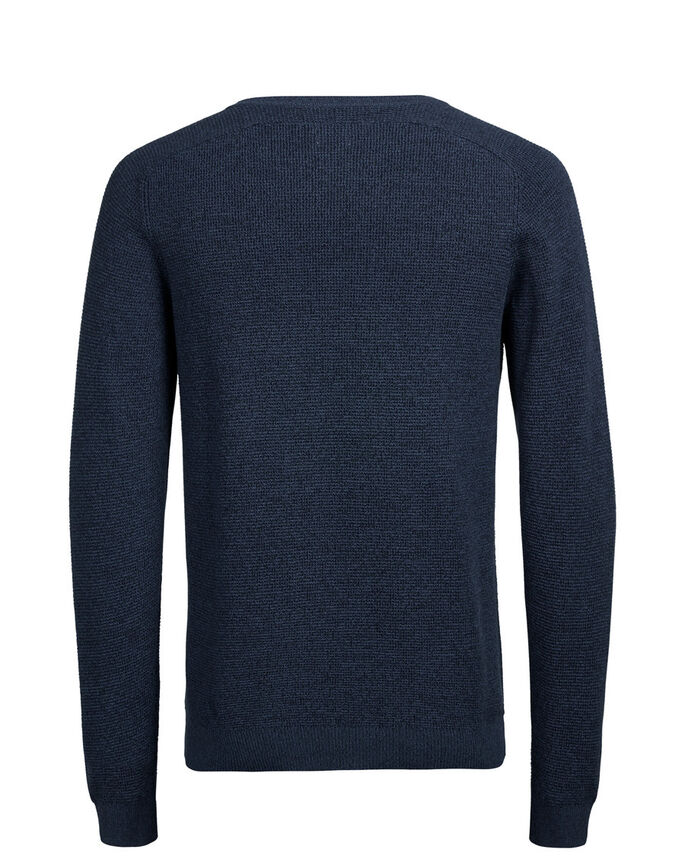 RAGLAN MELANGE KNITTED PULLOVER, Ensign Blue, large