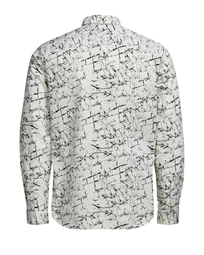 PRINTED BUTTON-UNDER LONG SLEEVED SHIRT, White, large