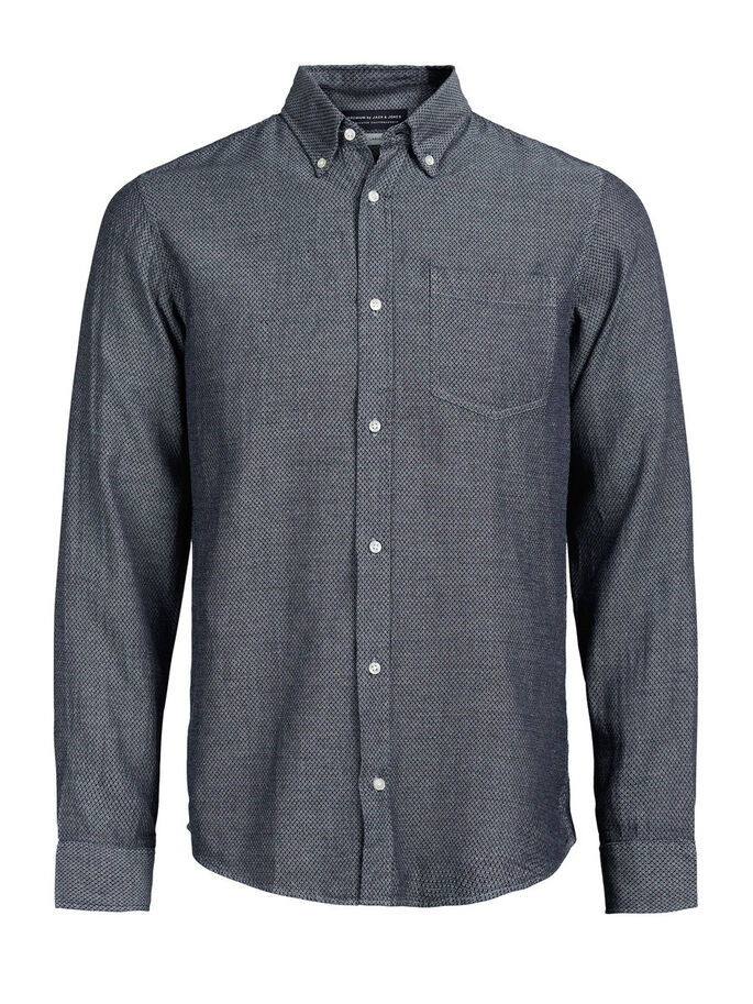 BUTTON-DOWN LONG SLEEVED SHIRT, Chambray Blue, large