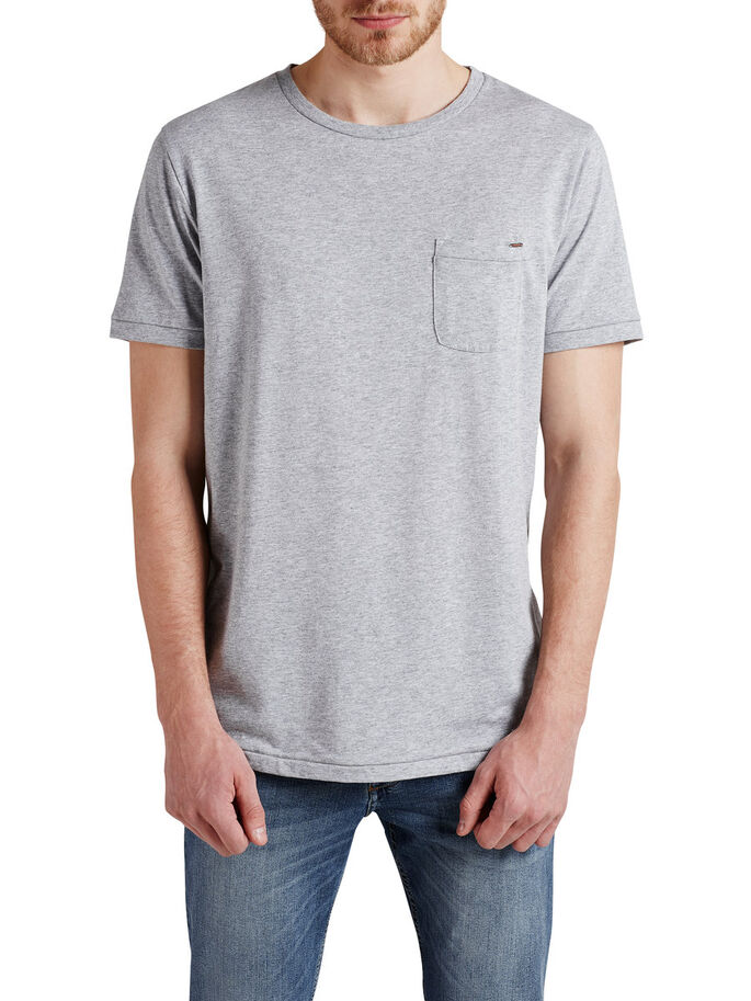 BASIC-EINTASCHEN- T-SHIRT, Light Grey Melange, large