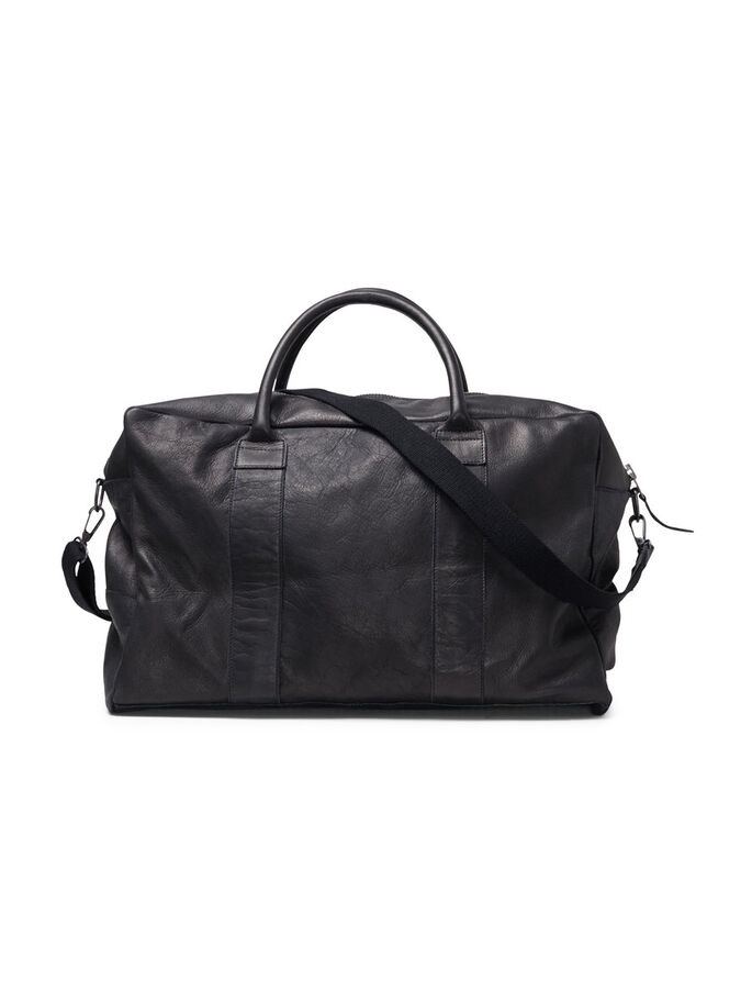 DURABLE LEATHER WEEKEND BAG, Black, large