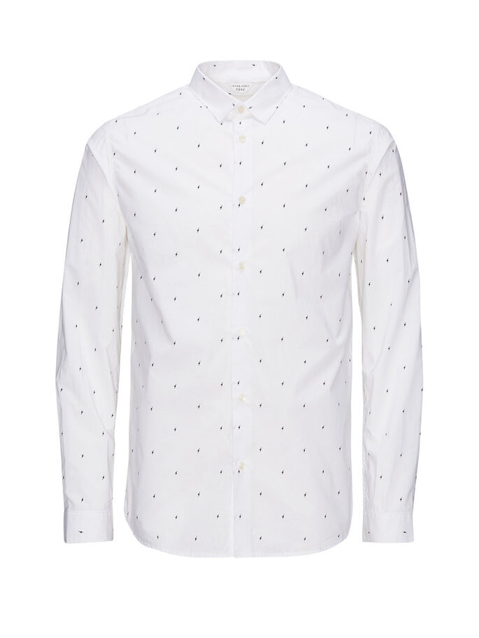 ALL-OVER PRINTED LONG SLEEVED SHIRT, White, large