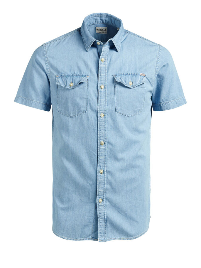 CLÁSICA CAMISA DE MANGA CORTA, Light Blue Denim, large