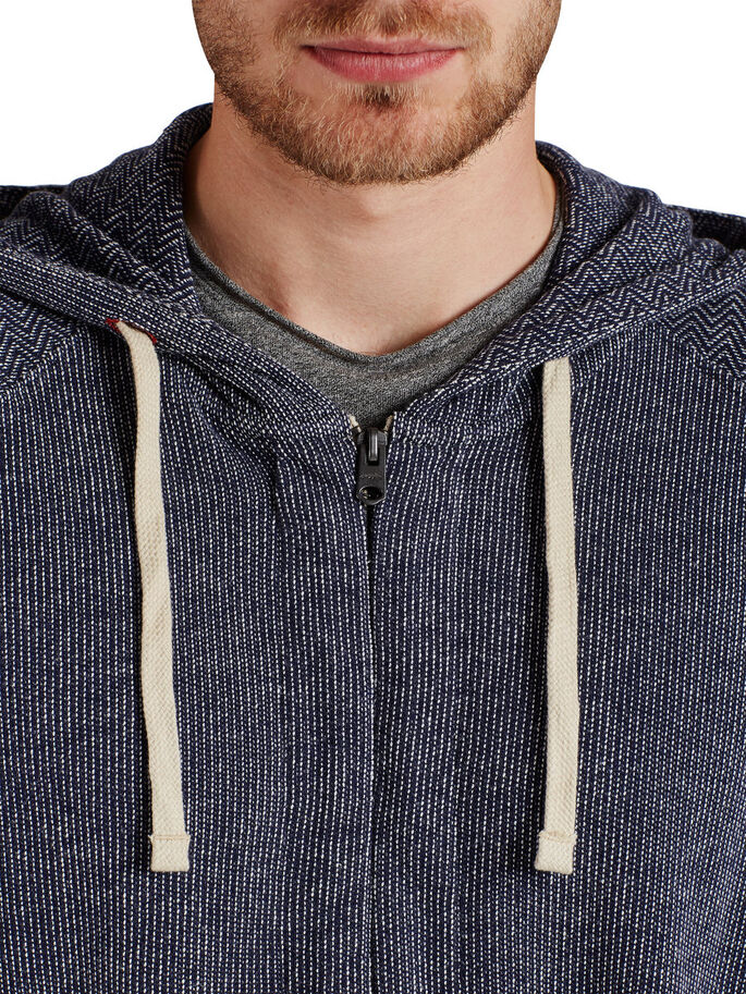 DETAILED HOODED ZIPPED SWEAT, Total Eclipse, large